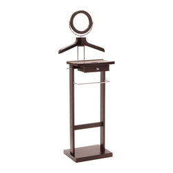 Winsome Trading, INC. - Winsome Wood Valet Stand Closet Accessory - 92155 ,Closed, Dark Espresso - This Valet stand keeps great organization of your suit, dress shirt, shoes and accessories within reach. Sturdy construction with rich espresso finish. Features includes coat/shirt hanger, bar, mirror and drawer.