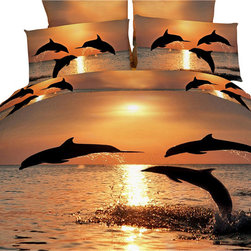 Dolce Mela - Marine Luxury Bedding Duvet Cover Set Dolce Mela DM426, Queen - Transform your bedrooms energy with this spectacular animal themed bedding of adorable dolphins dancing in the pacific sunset scenery and crate a romantic bedding decor.