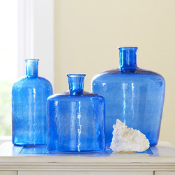 Glass Bottle Vase, Blue - Some vases are best showcased without blooms, and these blue glass ones are the perfect examples. The stunning blue hue makes enough of a statement on its own.