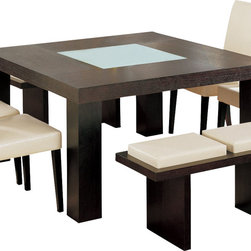 Global Furniture - Global Furniture USA Lony Square Dining Table in Wedge - Constructed of oak wood veneers this dining table makes a bold statement. Finished in wedge with a frosted center glass and square shape you will have more than enough room to entertain and enjoy your dining experience