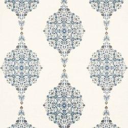 Schumacher - Mehndi Linen Print Fabric, Indigo - 2 Yard Minimum Order.