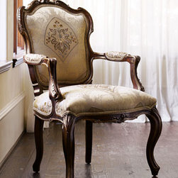 """Simone"" Frame Chair - The ""Simone"" chair will delight with its elegant curves.  Its hand-carved frame is reminiscent of a popular design that dates all the way back to the 1930s in France.26.25""W x 28.5""D x 41.5""T"