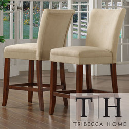 Tribecca Home - TRIBECCA HOME Parson Classic Cherry Peat Microfiber Counter-Height Chairs (Set o - These stylish Parsons dining room chairs come as a pair and are a great addition to any dining room. Made of solid wood and applied with a cherry finish, these chairs will last due to their spring-cushion seats, which are designed to provide durability.