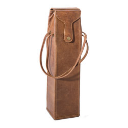 "Regina Andrew - Regina Andrew Wine Single Bottle Leather Carrier - Luxurious brown leather and a classic design define the sophisticated Regina Andrew wine bottle carrier. Featuring a front snap closure, this storage case offers distinct on-the-go style. 5.5""W x 4.25""D x 17.75""H; Brown leather; Two carrying straps; Holds one standard wine bottle"