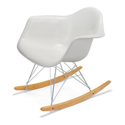 Modernica - Rocker - Arm Shell - The Case Study Fiberglass Rocking Chair is an essential for the modern home.