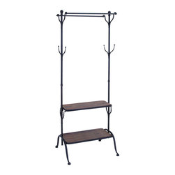 "Benzara - Clothing Rack With Multiple Hooks And Shelves - Keeping the conveniences of home stylish with a multiple use clothing rack. This rack has you covered for more than just hangers. Keep a coat and hat on the middle, and store your other necessities on the bottom two shelves. Place the rack in the spare bedroom or inside the walk-in closed for extra storage and easy convenience.; Made of wood and metal; Bottom shelf 12"" deep, top shelf 10"" deep; Size: 25""x21""x69"""