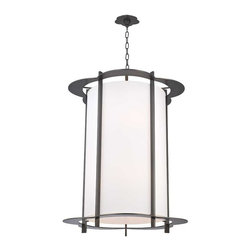 Hudson Valley Lighting - Hudson Valley Warwick I-10 Light Pendant in Old Bronze - Hudson Valley Lighting's Warwick's I-10 Light Pendant shown in Old Bronze. By the 1960s, a design evolution was gaining momentum. While continuing to embrace early modernism's enthusiasm for clean design, Mid-Century Modernists elevated expression and sculptural forms. Warwick enlivens a clean cylindrical shade with a floral-patterned cast metal frame. The playful curves of Warwick's outline complement its sleek vertical columns, for a look that is both fun and elegant.