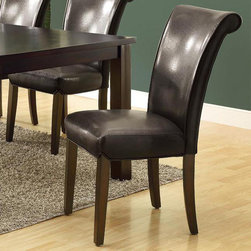 Monarch - Dark Brown Leather-look 39in.H Side Chair - 2Pcs - These 39 in. high dark brown side chairs are made to accentuate any dining table. These leather-look chairs have a conveniently designed high back and are exquisitely cushioned to maintain your utmost comfort. They add exceptional style to any set.