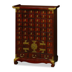 China Furniture and Arts - Korean Medicine Chest - This multi-drawer chest was originally used by the Korean court apothecaries for storing the curatives needed for the health of the royal household. Crafted of Elmwood by artisans in China, this 50-compartment cabinet will be especially useful for organizing assorted small items. Traditional hand forged brass hardware decorates the entire cabinet. Hand applied medium walnut finish. (Assembled.)