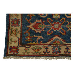 2'x3' Kazak Oriental Rug Tribal Design Hand Knotted 100% Wool Denim Blue Sh18503 - Our Tribal & Geometric hand knotted rug collection, consists of classic rugs woven with geometric patterns based on traditional tribal motifs. You will find Kazak rugs and flat-woven Kilims with centuries-old classic Turkish, Persian, Caucasian and Armenian patterns. The collection also includes the antique, finely-woven Serapi Heriz, the Mamluk Afghan, and the traditional village Persian rug.