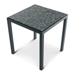 Baker Furniture - Abalone Mosaic End Table - The companion Abalone Mosaic End Table is also made from brass finished in Dark Bronze, its square top inset with abalone shell slightly raised above the brass apron and square straight legs.  Circa 1959.
