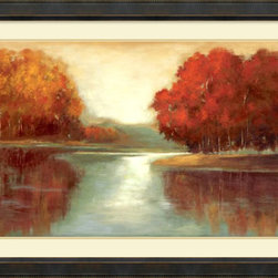 Amanti Art - Asia Jensen 'Vanilla Sky' Framed Art Print 44 x 33-inch - This stunning art print will infuse your walls with warmth. In shades of orange, burnt umber and ivory, this landscape celebrates the glorious colors of a changing season.