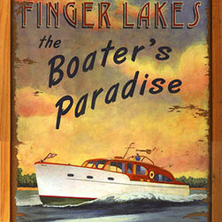 Red Horse Signs - Boater's Paradise New York Finger Lakes Vintage Boating Sign - Vintage  Sign  -New  York  Finger  Lakes  Nostalgic  Boating  SignBoater's  Paradise  is  a  vintage  sign  you  can  customize  with  your  own  choice  of  lake  location.Beautifully  printed  directly  to  weathered  wood    this  sign  has  a  rustic  quality  befitting  lake  house    beach  house  or  summer  lodge.  Measures  14  x  24.
