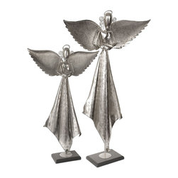Joshua Marshal - Antique Nickel Angels Sculpture Set of 2 - Antique Nickel Angels Sculpture Set of 2