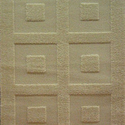 "Concord Global - Concord Global Colorado Block Party Ivory 3'3"" x 4'7"" Rug (1782) - Colorado is a heavy plush shag rug with a cut and loop construction which has a high-low effect in the designs creating a very unique feel and look."