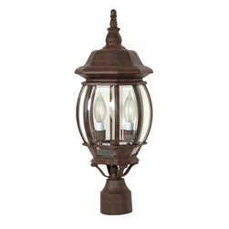 Nuvo Lighting - Central Park 3 Light Old Bronze With Clear Beveled Panels Post Lantern - The classic look of this bronze outdoor post lantern adds a touch to style to any house or yard. Finished in old bronze, this metal lantern has clear beveled panels that allow for maximum light transfer. This lantern has three lights inside.