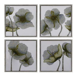 Uttermost Mini Floral Glow Wall Art Set/4 - Shadow box style frame finished in champagne silver leaf. This hand painted artwork on canvas features a high gloss finish on the flowers. The canvas has been stretched and framed in a shadow box style frame finished in champagne silver leaf. Due to the handcrafted nature of this artwork, each piece may have subtle differences.