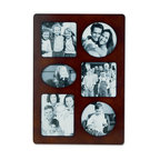 """Lawrence Frames - Walnut Wood Multi 6 Opening Picture Frame - Espresso wood 6 opening collage. Opening sizes are: two 3.25"""" square, two 3.25"""" Round, one 3"""" x 4"""", and one 2.25"""" x 3.25"""" oval. Overall size 8 3 8"""" x 12"""" x .625"""". Comes with quality easel backing for vertical or horizontal tabletop display, and hanger for vertical or horizontal wall mounting. Comes individually boxed."""