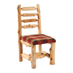 Fireside Lodge Furniture - Cedar Upholstered Log Side Chair (Autumn) - Fabric: AutumnCedar Collection. Contoured backrest for superior comfort. Northern White Cedar logs are hand peeled to accentuate their natural character and beauty. Clear coat catalyzed lacquer finish for extra durability. 2-Year limited warranty. 18 in. W x 18 in. D x 39 in. H (30 lbs.)
