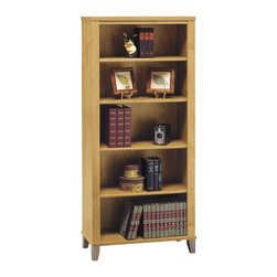 Bush Furniture - Bush Furniture 5 Shelf Bookcase X-56418CW - The Somerset wall-size bookcase offers ample storage. Accommodates oversized books, manuals, photos and more. Combined with transitional styling, it works within all types of offices due to its small footprint. Add other pieces from the Bush Furniture Somerset Collection to round out any room in the home or commercial office. Bookcase features three moveable and two fixed shelves for added stability and is backed by Bush Furniture's 6 year warranty.
