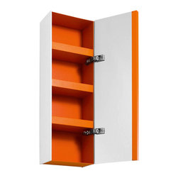 WS Bath Collections - 31.5 in. Bathroom Cabinet in White and Orange - Contemporary design. Three shelves. Mirrored door. Designer high end quality. Warranty: One year. Made from powder coated painted aluminum - matt stone sides. Made in Italy. 10.4 in. W x 6.5 in. D x 31.5 in. H (30 lbs.). Spec Sheet