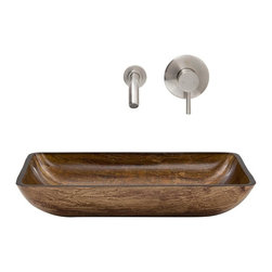 Vigo Industries - Vessel Sink with Faucet in Amber Sunset - Includes pop up drain, mounting ring, all mounting hardware and hot/cold waterlines
