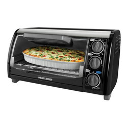 Black & Decker - Black & Decker Black 4-Slice Toaster Oven (Refurbished) - Use this handy countertop oven and broiler to make your oven favorites. Easy-to-use functions include bake,broil,toast and keep warm,plus variable temperature control and a handy timer with signal bell.