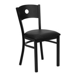 Flash Furniture - Flash Furniture Black Restaurant Dining Side Chair - Provide your customers with the ultimate dining experience by offering great food service and attractive furnishings. This heavy duty commercial metal chair is ideal for Restaurants Hotels Bars Lounges and in the Home. Whether you are setting up a new facility or in need of a upgrade this attractive chair will complement any environment. This metal chair is lightweight and will make it easy to move around. For added comfort this chair is comfortably padded in vinyl upholstery. This easy to clean chair will complement any environment to fill the void in your decor. [XU-DG-60119-CIR-BLKV-GG] Operating out of Etowah GA (with a warehouse in Reno NV) Flash Furniture specializes in bold upbeat décor for home office or commercial spaces. With a wide array of colors and fashions to fit your budget Flash Furniture accommodates your every need. Features include Heavy Duty Metal Restaurant Chair Circle Back Design Black Vinyl Upholstered Seat 2.5'' Thick 1.4 Density Foam Padded Seat 18 Gauge Steel Frame Welded Joint Assembly Curved Support Bar Black Powder Coated Frame Finish Plastic Floor Glides CA117 Fire Retardant Foam Designed for Commercial Use; Suitable for Home Use. Specifications Seat Size: 16.75W x 16.5D Back Size: 16W x 14.5H Seat Height: 20H Finish: Black Powder Coat Color: Black Upholstery: Black Vinyl.