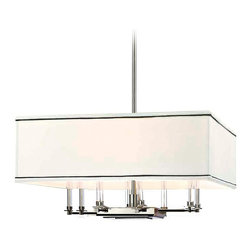 Hudson Valley Lighting - Hudson Valley Lighting Collins Transitional Chandelier X-NP-4292 - With a sleek profile, this chandelier is sure to add sophistication to your decor. The faux silk shade is decorated with black trimming which complements the smooth aged brass finished frame with dark cocoa wood accents. The Hudson Valley Lighting Collins Transitional chandelier can set the perfect mood above a dining table or seating area.