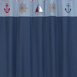"Sweet Jojo Designs - Nautical Nights Shower Curtain - The Nautical Nights Shower Curtain is a great way to make over your child's bathroom. Add a designer's touch and some fun colors to your bathroom with this lovely Shower Curtain. The Shower Curtain measures 72"" x 72"" and is machine washable. Shower hooks and liner are not included."