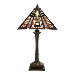 Quoizel - Quoizel TF124TVA Classic Craftsman Traditional Tiffany Table Lamp - Arts and Crafts is an enduring style that honors the tradition of fine craftsmanship and attention to detail.  The piece pays homage to this timeless style, which is typified by straight lines forming squares and rectangles, along with the use of oak and iron.