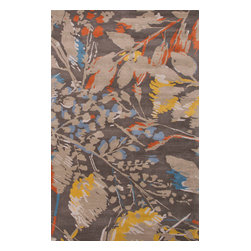 Jaipur Rugs - Hand-Tufted Floral Pattern Wool Gray/Orange Area Rug ( 2x3 ) - En Casa is the design collection of Cuban born, Queens, NY raised painter and surface designer, Luli Sanchez. This collection is based off of her painterly works of art that capture an organic and moody yet optimistic spirit. Her hand drawn florals and geometrics were truly inspiring for this Hand Tufted collection.