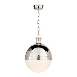 LARGE HICKS PENDANT - I have been recommending this globe pendant light for years. It absolutely NEVER goes out of style, and the  combination of chrome and bulb here is perfectly balanced. Another detail that is often an oversight is the style of the chain - note how stylish this one is!