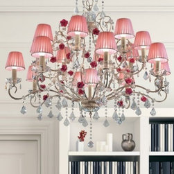 """3089 8+8+1 chandelier - The 3089 8+8+1 chandelier is part of a collection of High End light fixtures designed by Studio Stile Masiero in Italy for Masiero. This hanging lamp is a beautiful and harmonious piece that brings to classicism and modernism a new perspective. 3089 8+8+1 chandelier is an elegant light fixture with an iron frame painted in cream decorated with light """"strokes"""" of golden color. Beautiful and delicate roses of baked clay created by the skilled hands of the ceramists from Bassano del Grappa brings an interesting effect for the environment. It consists of multiple branches with transparent glass dishes ending in delicate lampshades of silk organza in transparent and rose and geometric crystal pendants in Asfour or Swarovski elements are hanging downwards. This is a stylish and contemporary chandelier that will light up any environment. Illumination is provided by E14 60W Incandescent bulb (not included).     .proddesc p{font-family: Verdana, sans-serif; font-size:8pt!important;}   .pdtable{font-family: Verdana, sans-serif; font-size:8pt!important;padding:10px;} Product Details: The 3089 8+8+1 chandelier is part of a collection of High End light fixtures designed by Studio Stile Masiero  in Italy for Masiero. This hanging lamp is a beautiful and harmonious piece that brings to classicism and modernism a new perspective. 3089 8+8+1 chandelier is an elegant light fixture with an iron frame painted in cream decorated with light """"strokes"""" of golden color. Beautiful and delicate    roses of baked clay created   by the skilled hands   of the ceramists from   Bassano del Grappa brings an interesting effect for the environment. It consists of multiple branches with transparent glass dishes ending in delicate lampshades of silk organza in transparent and rose and  geometric crystal pendants in Asfour or Swarovski elements are hanging downwards. This is a stylish and contemporary chandelier that will light up any environment. Illumination  is provided by E14"""