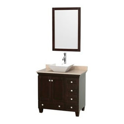 "Wyndham Collection(R) - Acclaim 36"" Single Bathroom Vanity for Vessel Sink by Wyndham Collection - Espre - Sublimely linking traditional and modern design aesthetics, and part of the exclusive Wyndham Collection(TM) Designer Series by Christopher Grubb, the Acclaim Vanity is at home in almost every bathroom decor. This solid oak vanity blends the simple lines of traditional design with modern elements like square undermount sinks and brushed chrome hardware, resulting in a timeless piece of bathroom furniture. The Acclaim is available with a White Carrera or Ivory marble counter, porcelain sinks, and matching mirrors. Featuring soft close door hinges and drawer glides, you'll never hear a noisy door again! Meticulously finished with brushed chrome hardware, the attention to detail on this beautiful vanity is second to none and is sure to be envy of your friends and neighbors! Acclaim Bathroom Vanities are available here in multiple sizes and finishes and are now available with optional CaesarStone® counters! The Wyndham Collection is an entirely unique and innovative bath line. Sure to inspire imitators, the original Wyndham Collection sets new standards for design and construction. FeaturesConstructed of environmentally friendly, zero emissions solid Oak hardwood, engineered to prevent warping and last a lifetime12-stage wood preparation, sanding, painting and finishing processHighly water-resistant low V.O.C. sealed finishCutting edge, unique styling by Interior Designer Christopher GrubbPractical Floor-Standing DesignMinimal assembly requiredDeep Doweled DrawersFully-extending under-mount soft-close drawer slidesConcealed soft-close door hinges Counter options include Ivory Marble, White Carrera Marble and Custom Black GraniteCounters include 3"" backsplash Counters include porcelain undermount sinks Pre-drilled for a single hole faucet Faucet not included Matching mirror availableMetal exterior hardware with brushed chrome finishTwo (2) functional doorsFive (5) functional drawersPlenty of storage space Includes drain assemblies and P-traps for easy assembly Variations in the shading and grain of our natural stone products enhance the individuality of your vanity and ensure that it will be truly uniqueDesigned by famous Beverly Hills interior designer Christopher Grubb exclusively for Wyndham Collection How to handle your counter Spec Sheet Installation Instructions Installation Guide for Vessel Sinks --> Installation Guide for Mirrors --> Spec Sheet for Linen Tower Spec Sheet for Wall Cabinet Spec Sheet for WC-K-W045 Spec Sheet for (V202) Spec Sheet for (V203) Spec Sheet for (V205) Spec Sheet for (V206) Please note that all custom natural stone and Caesarstone counters are proudly manufactured in the USA specifically for your order, and so require up to 3 weeks manufacturing time. Caesarstone Carbone, Starry Night, Spring Blossom, and Marrone are made from recycled content. Quartz Reflections and Ruby Reflections colors are made with up to 35% post-consumer recycled glass. Chocolate Truffle color is made with up to 17% post-consumer recycled glass. Natural stone like marble and granite, while otherwise durable, are vulnerable to staining from hair dye, ink, tea, coffee, oily materials such as hand cream or milk, and can be etched by acidic substances such as alcohol and soft drinks. Please protect your countertop and/or sink by avoiding contact with these substances. For more information, please review our ""Marble & Granite Care"" guide."