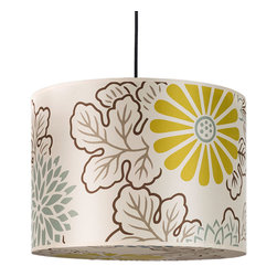 Lights Up! - Meridian Large Pendant Lamp, Kimono on Silk Shade - Let there be light! But why hang a run-of-the-mill-factory light fixture when you can give your breakfast nook a pop of pendant panache. Wrapped in silk, with a colorful burst of blossoms, this pendant lamp is ready to add extra flavor to the dining room or wherever you think your modern spaces could use some brilliance.\