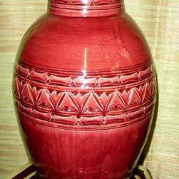 Moroccan Decor - Made from Moroccan red clay, the Moroccan ceramic flower vase is hand-thrown and carved by seventh generation potters from Safi.