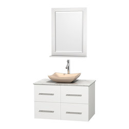 "Wyndham Collection - Centra 36"" Matte White SGL Vanity, Carrera Marble Top, Avalon Sink, 24"" Mrr - Simplicity and elegance combine in the perfect lines of the Centra vanity by the Wyndham Collection. If cutting-edge contemporary design is your style then the Centra vanity is for you - modern, chic and built to last a lifetime. Available with green glass, pure white man-made stone, ivory marble or white carrera marble counters, with stunning vessel or undermount sink(s) and matching Mrr(s). Featuring soft close door hinges, drawer glides, and meticulously finished with brushed chrome hardware. The attention to detail on this beautiful vanity is second to none."