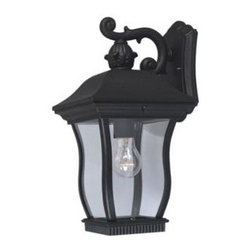 Cordelia Lighting - Cordelia Lighting Outdoor Lanterns. Cumberland Collection Wall Mounted Outdoor B - Shop for Lighting & Fans at The Home Depot. Cumberland outdoor lanterns feature an elegant uniquely curved design with a scrolled arm, framed backplate and exquisite detailing that complements the decor of any home. The clear glass works with the finish and detailing to provide a classic look from the fixture and a warm glow from the light. The solid black finish is treated to prevent pitting, tarnishing, corrosion, and discoloration. The sturdy, weather resistant cast aluminum construction and waterproof seal protect the lantern from harsh outdoor elements to ensure the long life of the fixture. These outdoor lanterns install easily and deliver welcoming, safe and reliable exterior lighting.