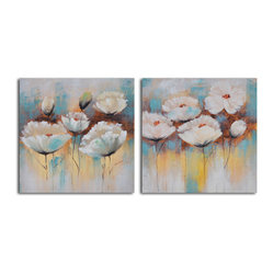 Powder puff poppies Hand Painted 2 Piece Canvas Set - Put up these poppies to lift the mood of any room. Hand-painted acrylic on canvas, they make a delicate, whimsical, delightful statement in your favorite setting.