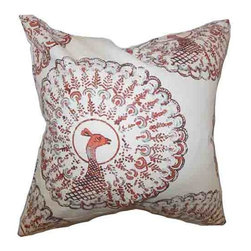The Pillow Collection - Ieesha Coral White 18 x 18 Animal Print Throw Pillow - - Pillows have hidden zippers for easy removal and cleaning  - Reversible pillow with same fabric on both sides  - Comes standard with a 5/95 feather blend pillow insert  - All four sides have a clean knife-edge finish  - Pillow insert is 19 x 19 to ensure a tight and generous fit  - Cover and insert made in the USA  - Spot clean and Dry cleaning recommended  - Fill Material: 5/95 down feather blend The Pillow Collection - P18-D-PABOREAL-CORAL-C95-L5
