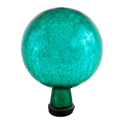 Achla - 6 in.  Gazing Globe, Emerald Green, Crackle - Named  in. Spheres of Light in.  by Antonio Neri in 1612, they are most commonly known to fend off misfortune and deliver happiness and joy. The first gazing globes date back to 13th century Venice. Add color, charm, and good luck with the crackle gazing globes of Achla Designs.. Crackle Emerald Green Finish. 6 in.  Globe. Hand-blown Glass. Sealed at the bottom for longevity. 6 in. D x 6 in. W x 8 in. H