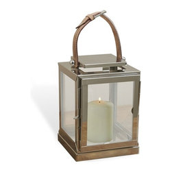 Interlude - Marek Lantern - Don't be fooled by the petite scale of the Marek Lantern.  What it lacks in size it makes up in style with its clean lines and nubuck handle.