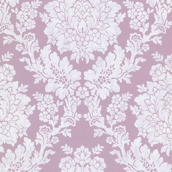Liza Purple Roselle Damask Wallpaper - A soft lilac base creates a perfect regal wall covering for any room in your home. Richly adorned in a large damask print, it claims both attention and beauty.