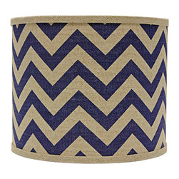 """Lamps Plus - Transitional Indigo Chevron Drum Lamp Shade 16x16x13 (Spider) - This drum lamp shade features cotton fabric with an indigo zigzag design and a chrome spider fitter for a dash of brilliance. A pleasing accent shade to spruce up a floor or table lamp. The correct size harp is included free with this purchase. Drum lamp shade. Cotton exterior. Indigo chevron design. Spider fitter.  Unlined. Correct size harp included. 14"""" across the top. 16"""" across the bottom. 13"""" high.  Drum lamp shade.  Cotton exterior.  Indigo chevron design.  Spider fitter.  Unlined.  Correct size harp included.  16"""" across the top.  16"""" across the bottom.  13"""" high."""
