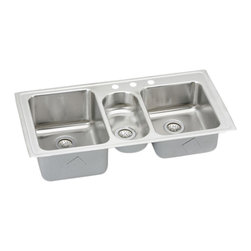 "Elkay - Elkay LGR43223  Three-Bowl Gourmet Sink - Elkay's LGR43223 is a Three-Bowl Gourmet Sink. This triple-bowl sink is constructed of 18-gauge type 304 nickel-bearing stainless steel, and is self-rimming. It features a left bowl depth of 10"", an 8"" right bowl depth, a 5-1/8"" center bowl depth, and three drain openings of 3-1/2""."