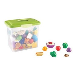 Learning Resources New Sprouts Classroom Play Food Set - Your children will learn dramatic play and early nutrition with the Learning Resources New Sprouts Classroom Play Food Set, which features 100 durable yet soft pieces of food. The freshly designed pieces come in rubberized plastic and can be stored in a large tub.About Learning ResourcesA leading manufacturer of innovative, hands-on educational materials and learning toys, Learning Resources has been teaching children through play in the classroom and the home for over 25 years. They are a trusted source for educators and parents who want quality, award-winning educational products. Their diverse product line of over 1300 products serves children and their families, kindergarten, primary, and middle school markets focused on the areas of mathematics, science, early childhood, reading, Spanish language learning and teacher resources. Since their founding in 1984, Learning Resources continues to be guided by its mission to develop quality educational products that make learning exciting for children of all ages and abilities. They strive to create hands-on products that build a concrete foundation of skills through exploration, imagination and fun.