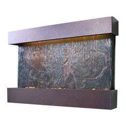 Bluworld - Medium Horizon Falls NSI Lightweight Slate Fountain, Copper Vein - The Medium Horizon Falls fountain takes the Nojoqui Falls fountain concept and turns it quite literally on its side, creating a horizontal wall fountain that measures almost three feet across. This horizontal version of the original Large Nojoqui Falls wall fountain is named after the beautiful 164 foot tall Nojoqui Falls waterfall, located in central California where the Water Wonders line was originated. These water fountains are a truly unique, engaging and an elegant addition to any indoor space.