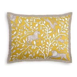 Yellow Modern Animal Motif Custom Sham - Stay classy, America!  Add a few Tailored Shams with crisp solid edging to create a bedset with the perfect mix of contemporary style and classic elegance. We love it in this sketched African animal and vine motif in modern mustard yellow. Be wild and wonderful!