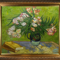 """overstockArt.com - Van Gogh - Majolica Jar with Branches of Oleander, 1888 Oil Painting - 20"""" x 24"""" Oil Painting On Canvas Hand painted oil reproduction of a famous Van Gogh painting, Majolica Jar with Branches of Oleander, 1888. It has been carefully recreated detail by detail, color by color to near perfection. Vincent Van Gogh's restless spirit and depressive mental state fired his artistic work with great joy and, sadly, equally great despair. Known as a prolific Post-Impressionist, he produced many paintings that were heavily biographical. This work of art has the same emotions and beauty as the original. Why not grace your home with this reproduced masterpiece? It is sure to bring many admirers!"""